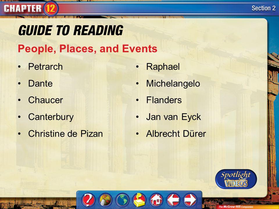 Section 2-Key Terms People, Places, and Events Petrarch Dante Chaucer Canterbury Christine de Pizan Raphael Michelangelo Flanders Jan van Eyck Albrech
