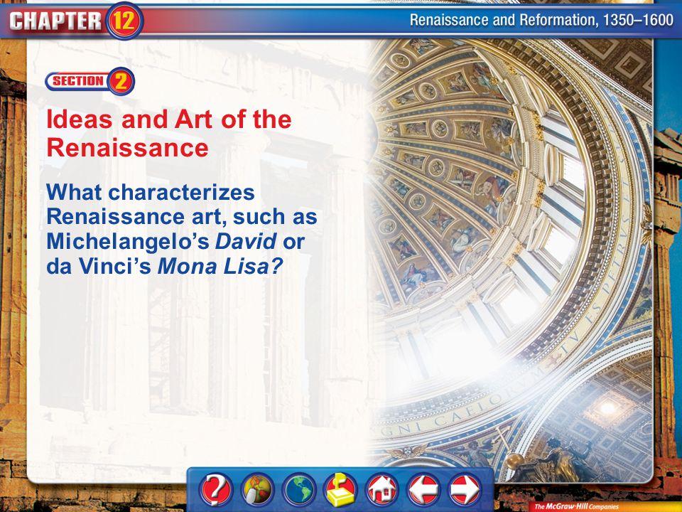 Chapter Intro 2 Ideas and Art of the Renaissance What characterizes Renaissance art, such as Michelangelos David or da Vincis Mona Lisa?