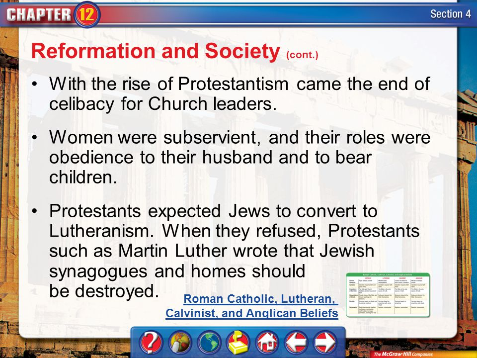 Section 4 With the rise of Protestantism came the end of celibacy for Church leaders. Women were subservient, and their roles were obedience to their