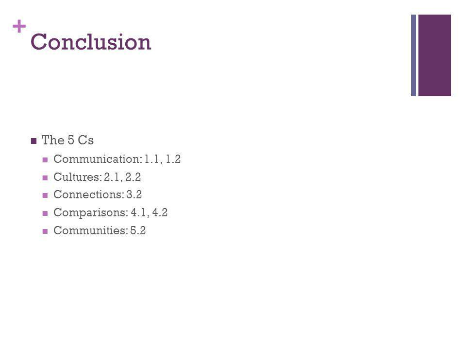+ Conclusion The 5 Cs Communication: 1.1, 1.2 Cultures: 2.1, 2.2 Connections: 3.2 Comparisons: 4.1, 4.2 Communities: 5.2