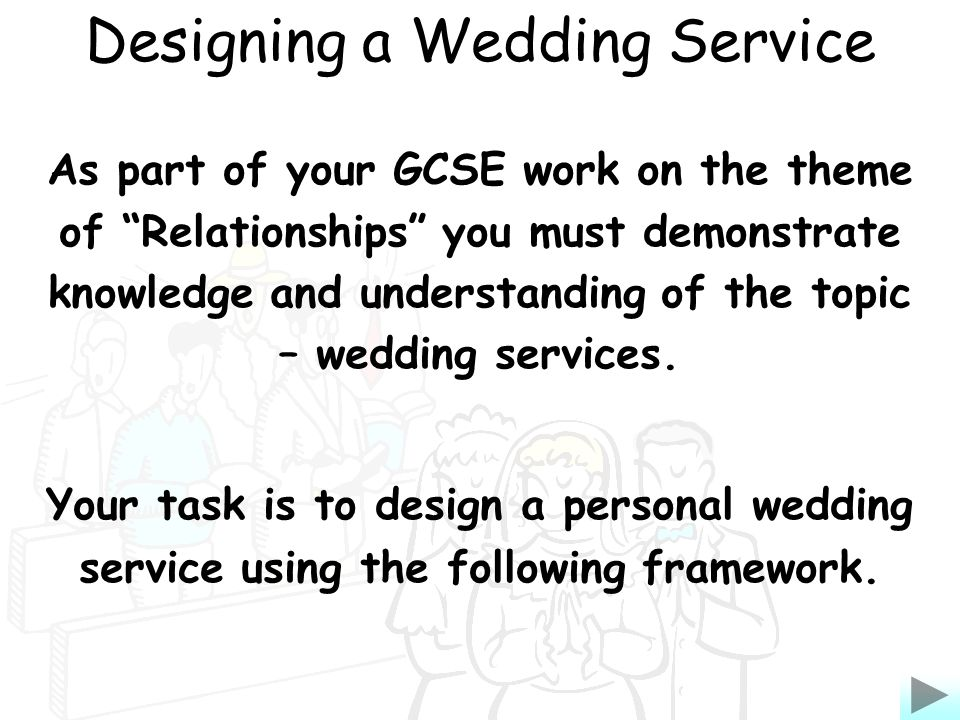 As part of your GCSE work on the theme of Relationships you must demonstrate knowledge and understanding of the topic – wedding services.