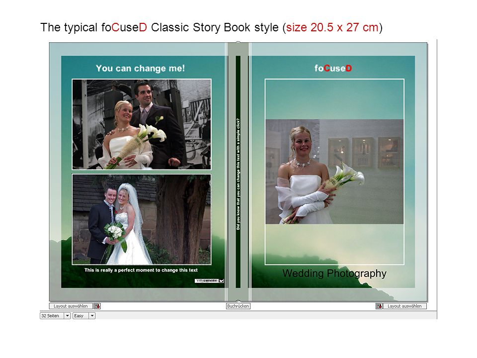 The typical foCuseD Classic Story Book style (size 20.5 x 27 cm)