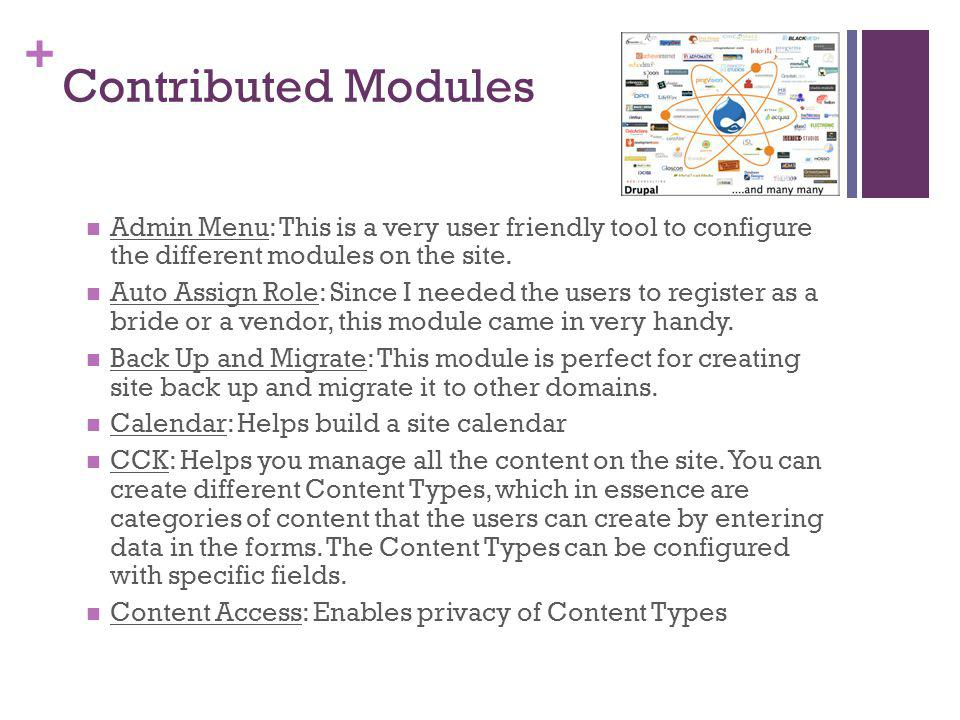 + Contributed Modules Admin Menu: This is a very user friendly tool to configure the different modules on the site.