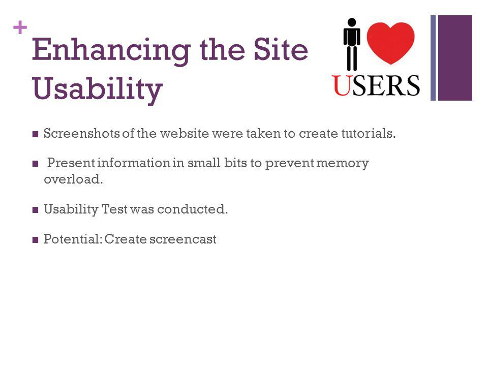 + Enhancing the Site Usability Screenshots of the website were taken to create tutorials.