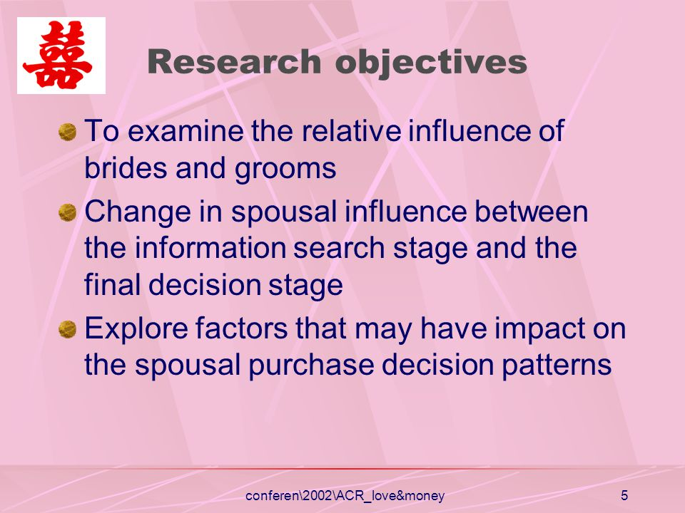 5 Research objectives To examine the relative influence of brides and grooms Change in spousal influence between the information search stage and the final decision stage Explore factors that may have impact on the spousal purchase decision patterns