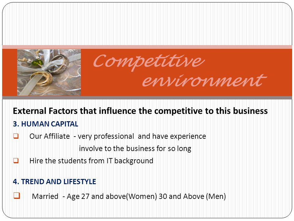 Competitive environment External Factors that influence the competitive to this business 3.