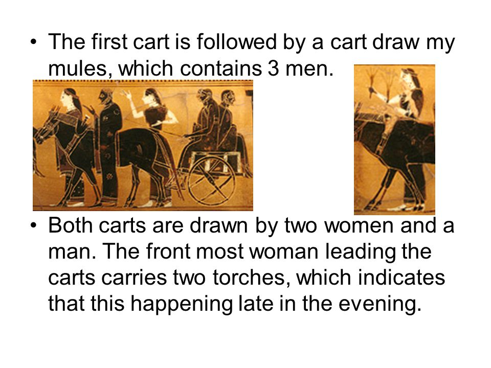 The first cart is followed by a cart draw my mules, which contains 3 men.