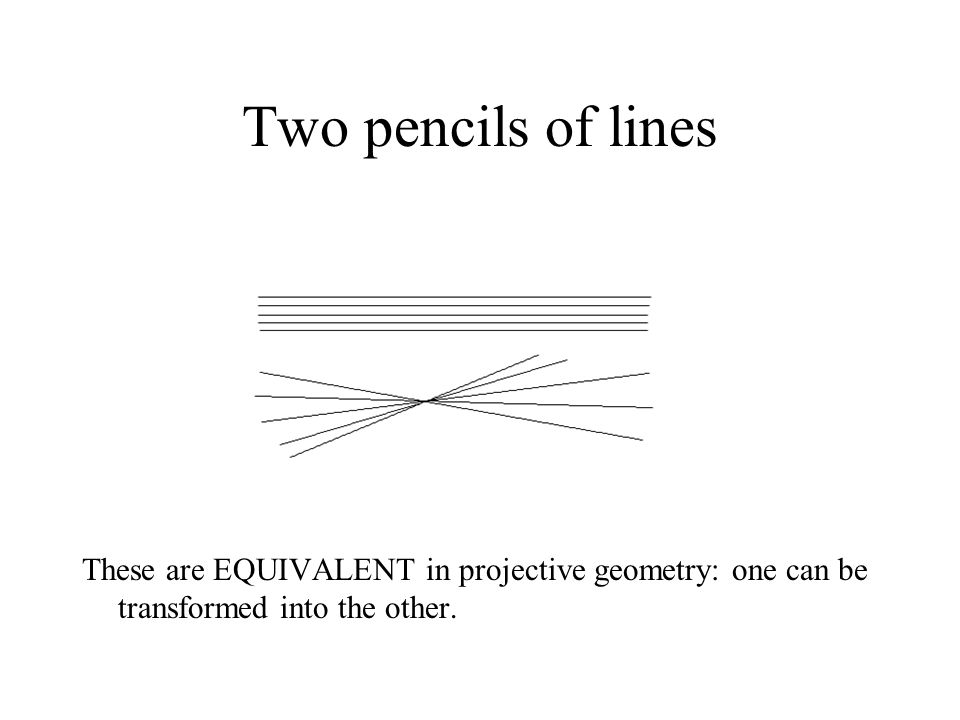 Two pencils of lines These are EQUIVALENT in projective geometry: one can be transformed into the other.