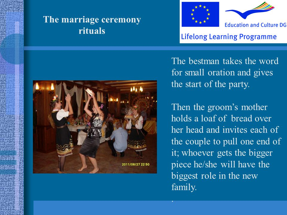 The marriage ceremony rituals The bestman takes the word for small oration and gives the start of the party.