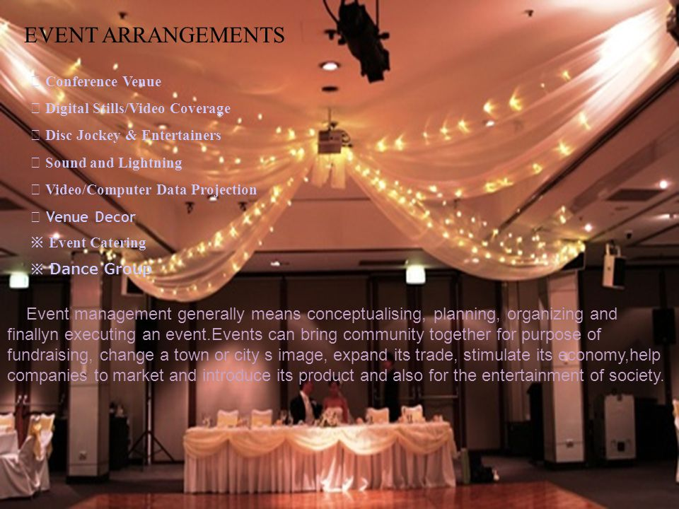 ALL WEDDING WEDDING ARRANGEMENTS DESTINATION WEDDINGS THEMATIC DECOR DECORATION CATERING ENTERTAINMENT OTHER ARRANGEMENTS MARRIAGE HALLS, FARM HOUSE, HOTEL & FIVE STR AC BANQUET HALL At Royal Event Planners we carefully look into your requirements and then suggest the best VENUE to host your big-day.