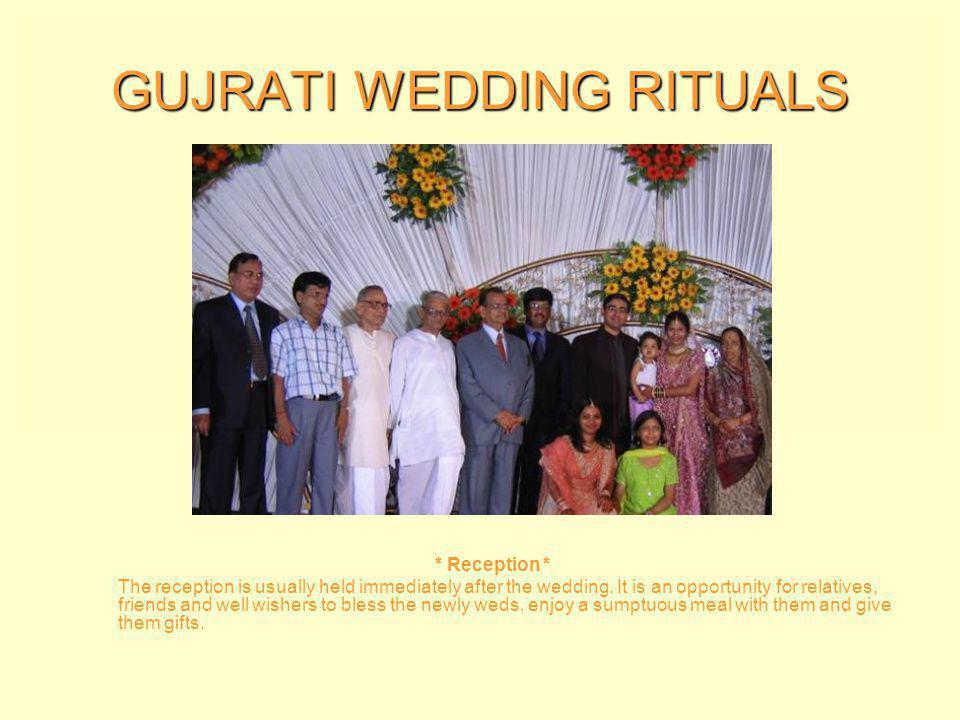GUJRATI WEDDING RITUALS * Saptapadi * The Saptapadi or seven steps is another important ritual of the Gujarati wedding ceremony.