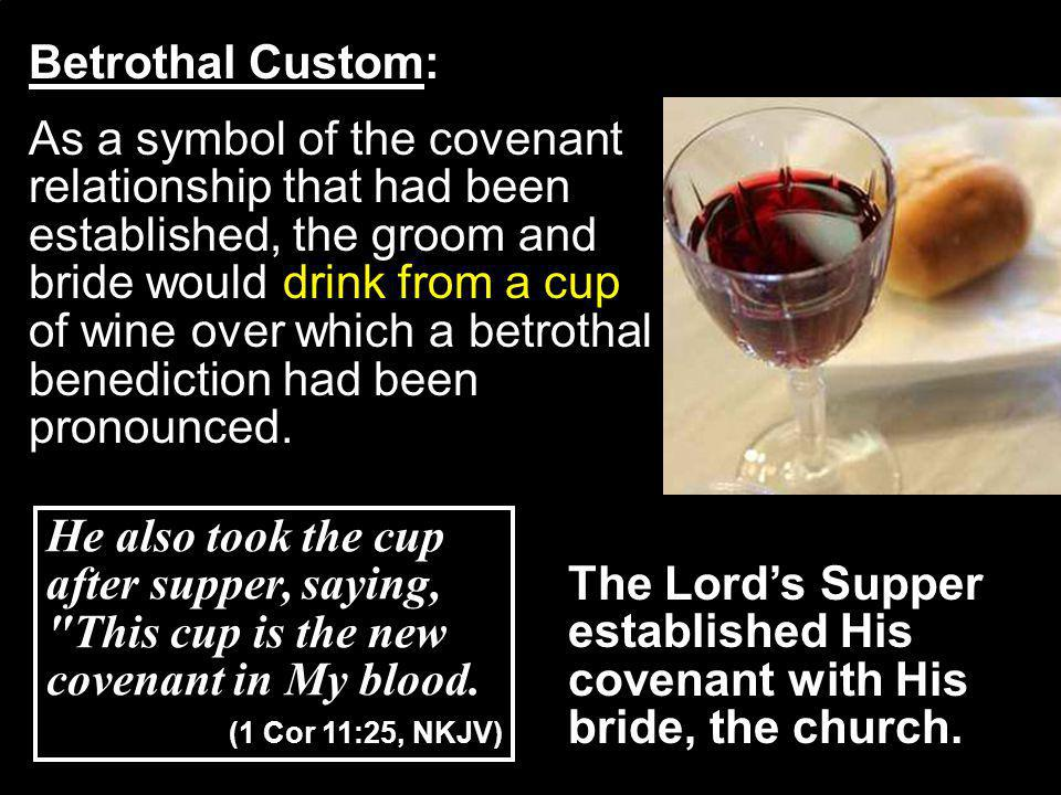 The Lords Supper established His covenant with His bride, the church.