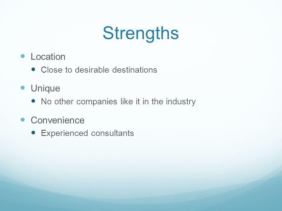 Strengths Location Close to desirable destinations Unique No other companies like it in the industry Convenience Experienced consultants