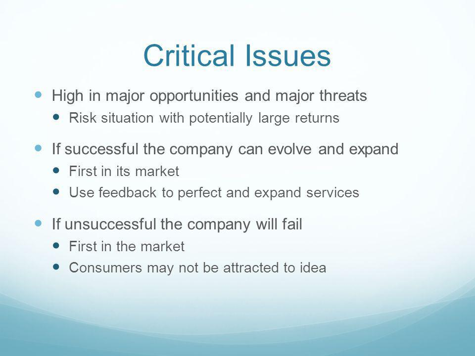 Critical Issues High in major opportunities and major threats Risk situation with potentially large returns If successful the company can evolve and expand First in its market Use feedback to perfect and expand services If unsuccessful the company will fail First in the market Consumers may not be attracted to idea