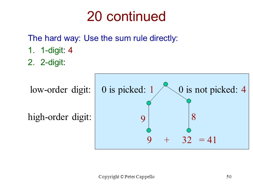 Copyright © Peter Cappello50 20 continued The hard way: Use the sum rule directly: 1.1-digit: 4 2.2-digit: 0 is not picked: 40 is picked: 1low-order digit: high-order digit: 9 8 9 + 32 = 41