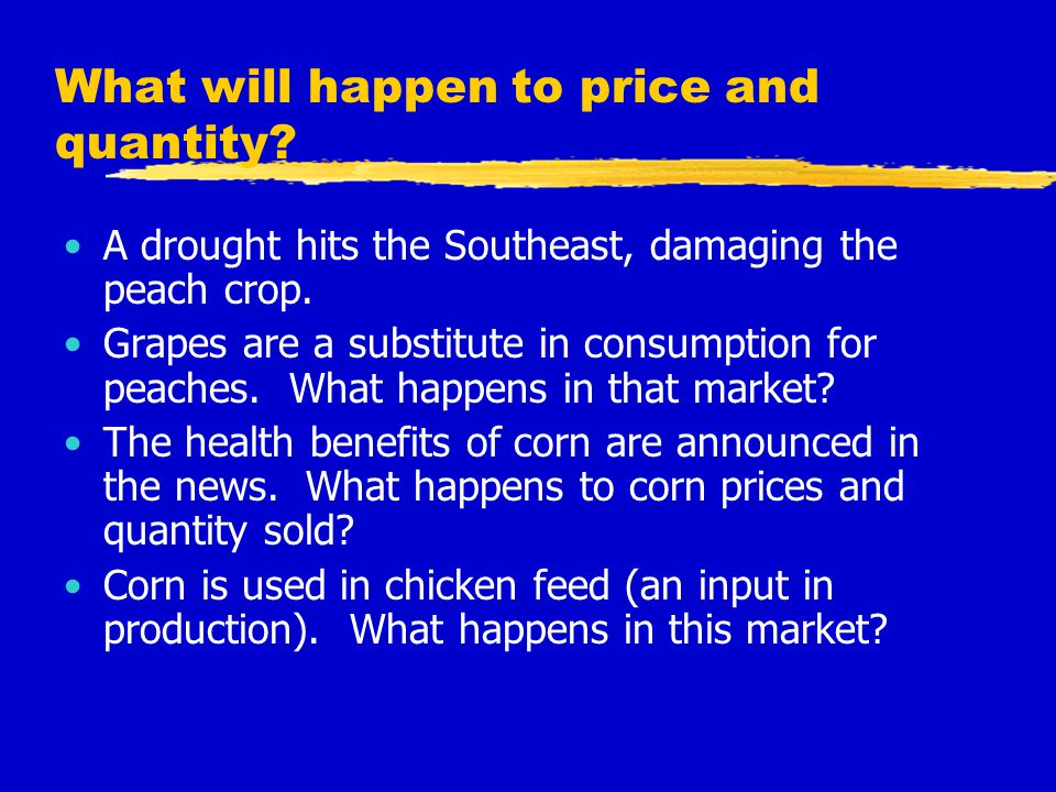 What will happen to price and quantity? A drought hits the Southeast, damaging the peach crop. Grapes are a substitute in consumption for peaches. Wha