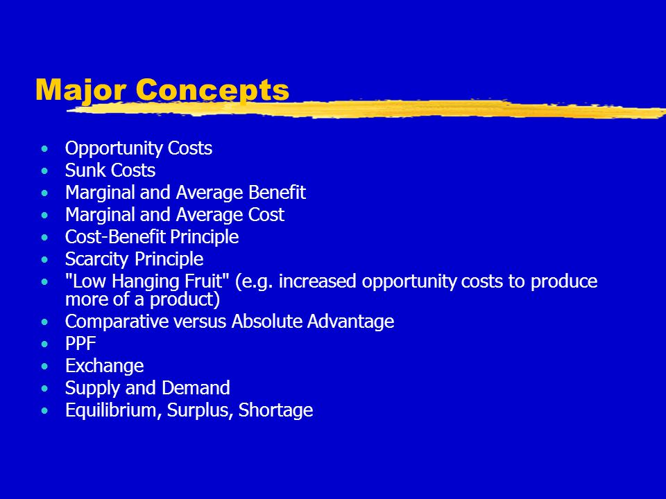 Major Concepts Opportunity Costs Sunk Costs Marginal and Average Benefit Marginal and Average Cost Cost-Benefit Principle Scarcity Principle