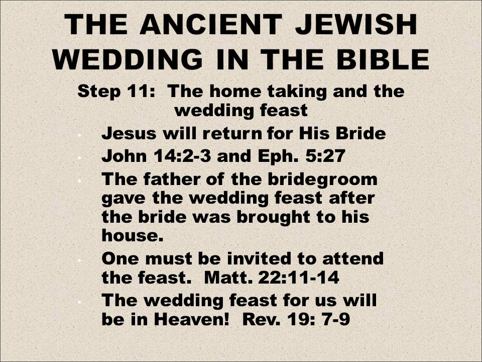 Step 11: The home taking and the wedding feast Jesus will return for His Bride John 14:2-3 and Eph.