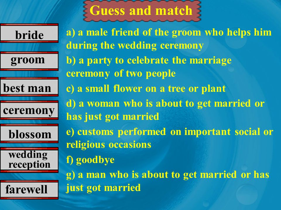 can / cant should / shouldnt have to / dont have to the preparations for the wedding, the ceremony, the reception, what to do & what not to do for the guests Discussion Talk about the Chinese wedding customs You may talk about …