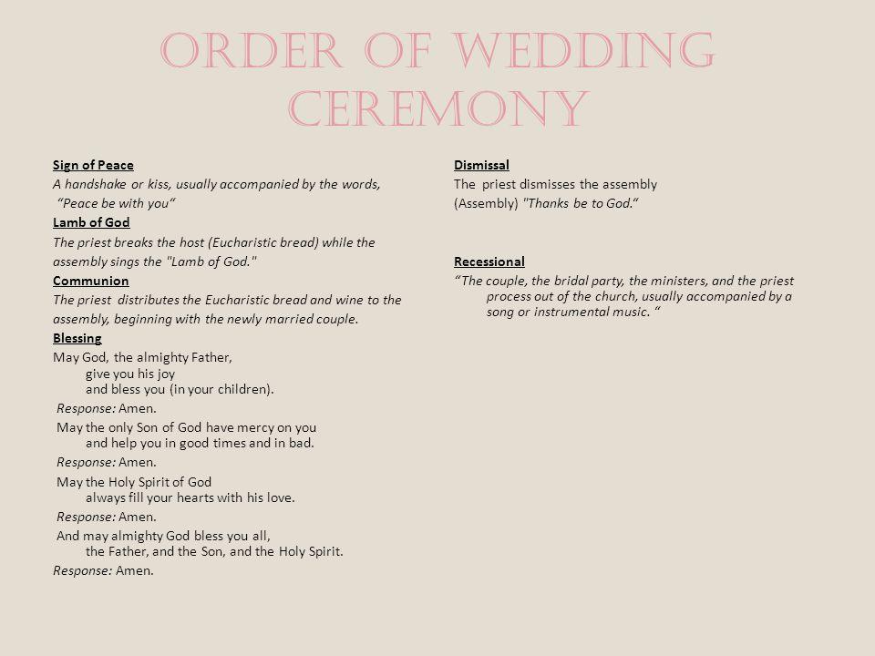 Order of Wedding Ceremony Prayer of the Faithful The Presider: