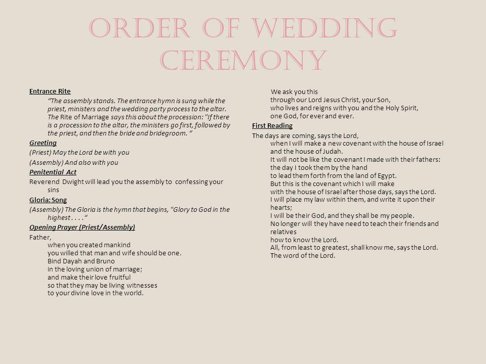 Wedding Ceremony Songs Wedding Processional Song: Watchet Auf- Bach Wedding Recessional Song: Trumpet Tune- Purcell Wedding Ceremony Song: I Will Be H