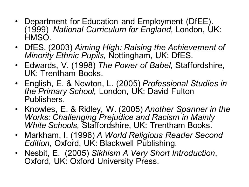 Department for Education and Employment (DfEE). (1999) National Curriculum for England, London, UK: HMSO. DfES. (2003) Aiming High: Raising the Achiev