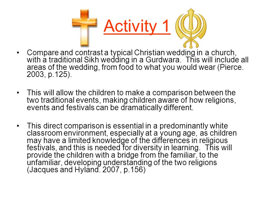 Activity 1 Compare and contrast a typical Christian wedding in a church, with a traditional Sikh wedding in a Gurdwara. This will include all areas of