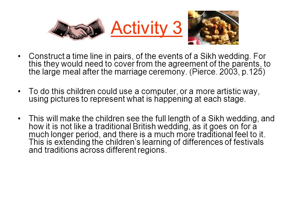 Activity 3 Construct a time line in pairs, of the events of a Sikh wedding. For this they would need to cover from the agreement of the parents, to th