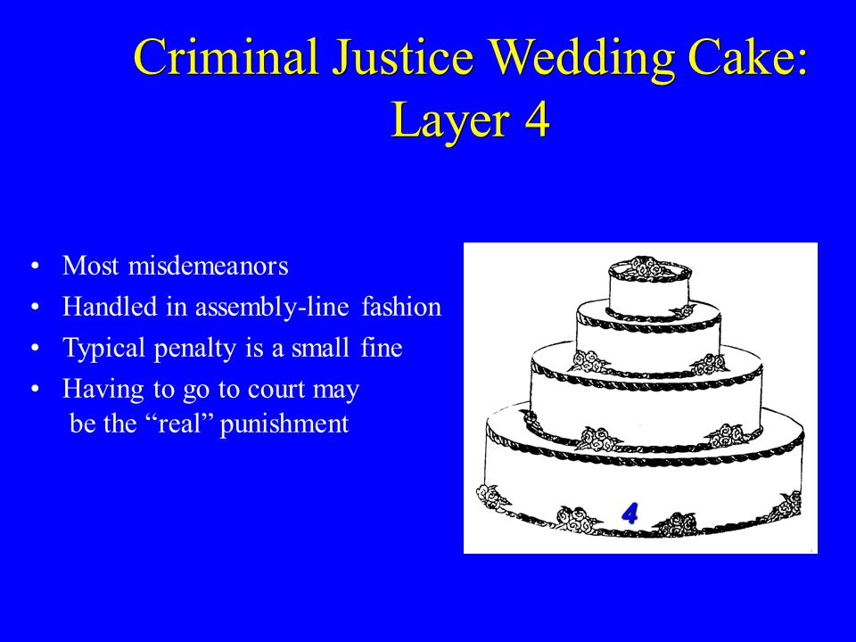 Most misdemeanors Handled in assembly-line fashion Typical penalty is a small fine Having to go to court may be the real punishment 4 Criminal Justice Wedding Cake: Layer 4