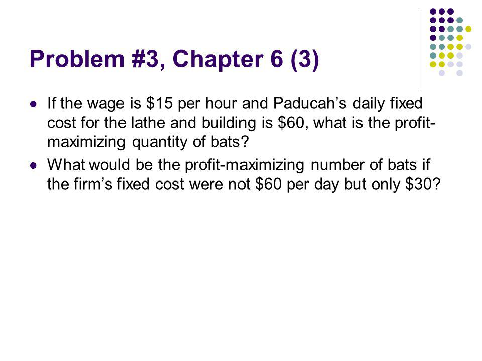 Problem #3, Chapter 6 (3) If the wage is $15 per hour and Paducahs daily fixed cost for the lathe and building is $60, what is the profit- maximizing quantity of bats.