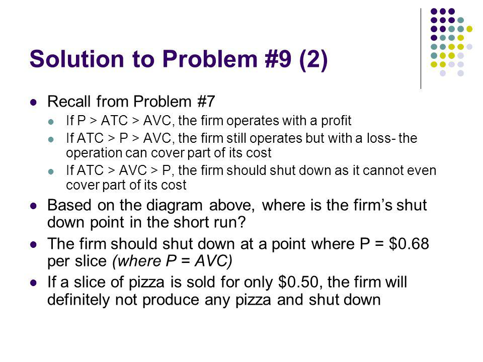 Solution to Problem #9 (2) Recall from Problem #7 If P > ATC > AVC, the firm operates with a profit If ATC > P > AVC, the firm still operates but with a loss- the operation can cover part of its cost If ATC > AVC > P, the firm should shut down as it cannot even cover part of its cost Based on the diagram above, where is the firms shut down point in the short run.