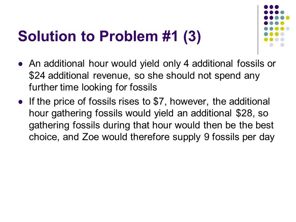 Solution to Problem #1 (3) An additional hour would yield only 4 additional fossils or $24 additional revenue, so she should not spend any further time looking for fossils If the price of fossils rises to $7, however, the additional hour gathering fossils would yield an additional $28, so gathering fossils during that hour would then be the best choice, and Zoe would therefore supply 9 fossils per day