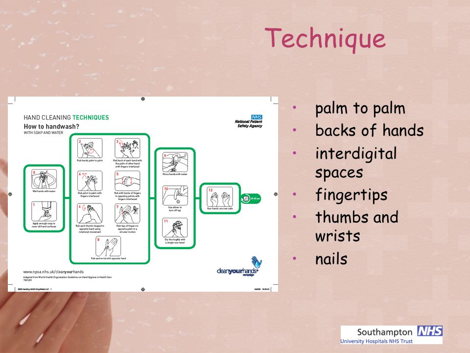 palm to palm backs of hands interdigital spaces fingertips thumbs and wrists nails Technique