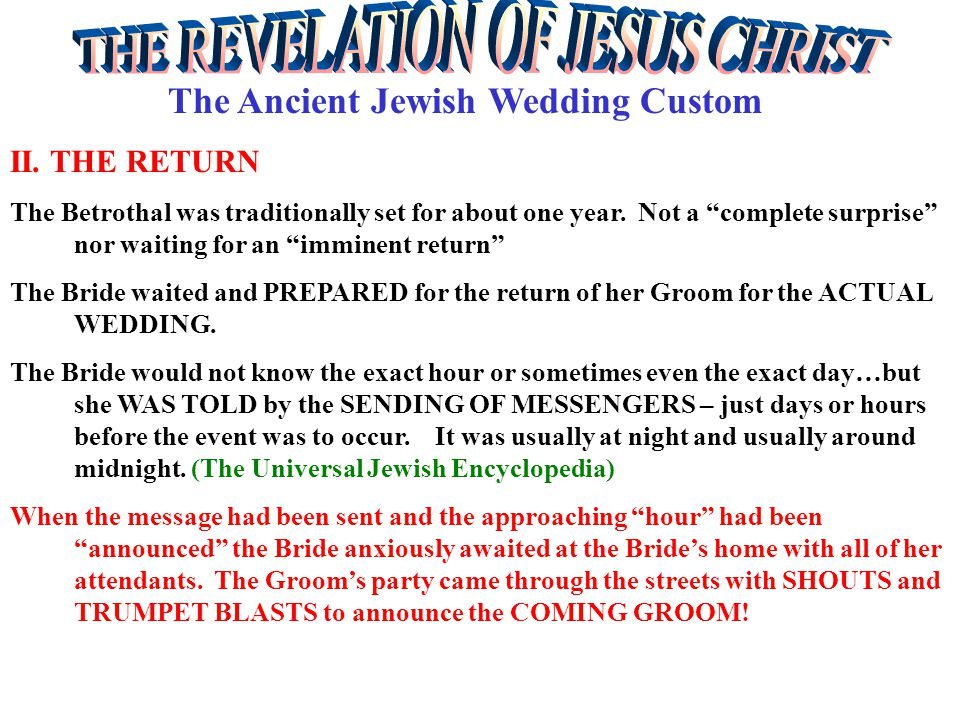 The Ancient Jewish Wedding Custom II.