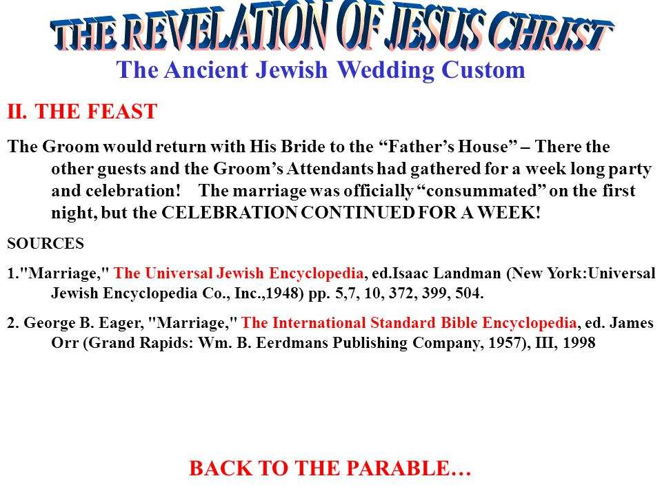 The Ancient Jewish Wedding Custom II. THE FEAST The Groom would return with His Bride to the Fathers House – There the other guests and the Grooms Att