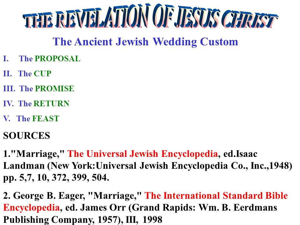 The Ancient Jewish Wedding Custom I.The PROPOSAL Son – From the Fathers House.