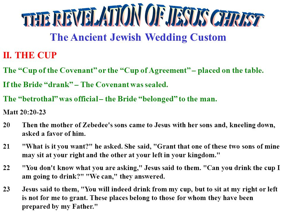 The Ancient Jewish Wedding Custom II.THE PROMISE The Groom made several promises – 1.