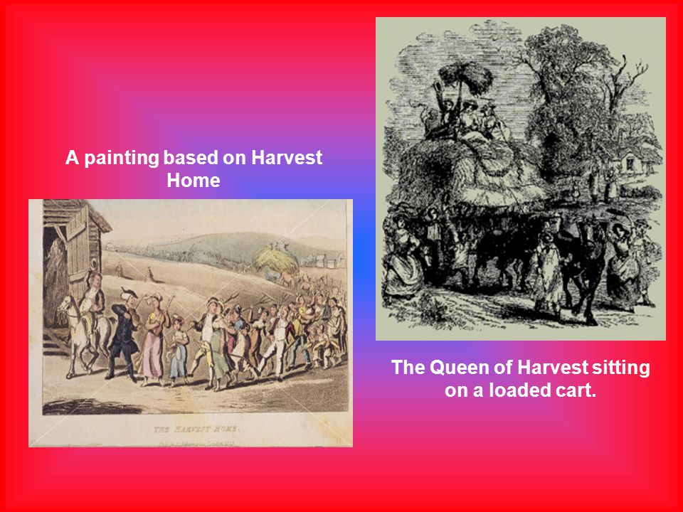 A painting based on Harvest Home The Queen of Harvest sitting on a loaded cart.