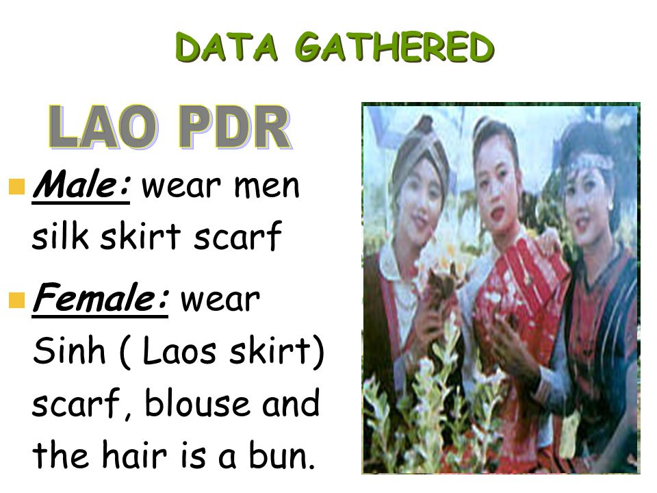 DATA GATHERED Male: wear men silk skirt scarf Female: wear Sinh ( Laos skirt) scarf, blouse and the hair is a bun.