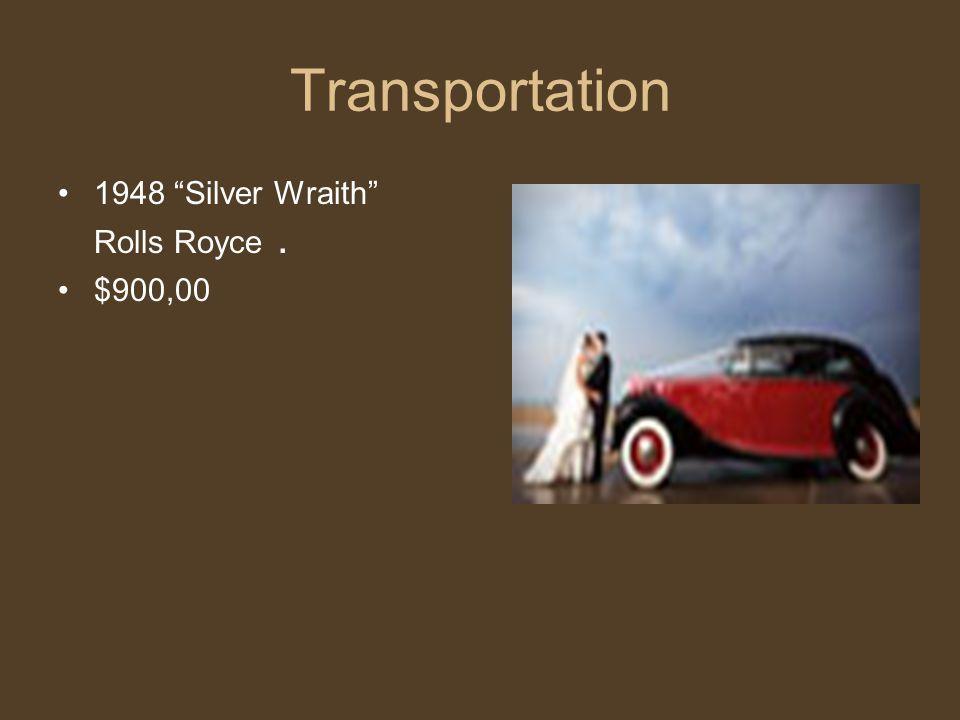 Transportation 1948 Silver Wraith Rolls Royce. $900,00
