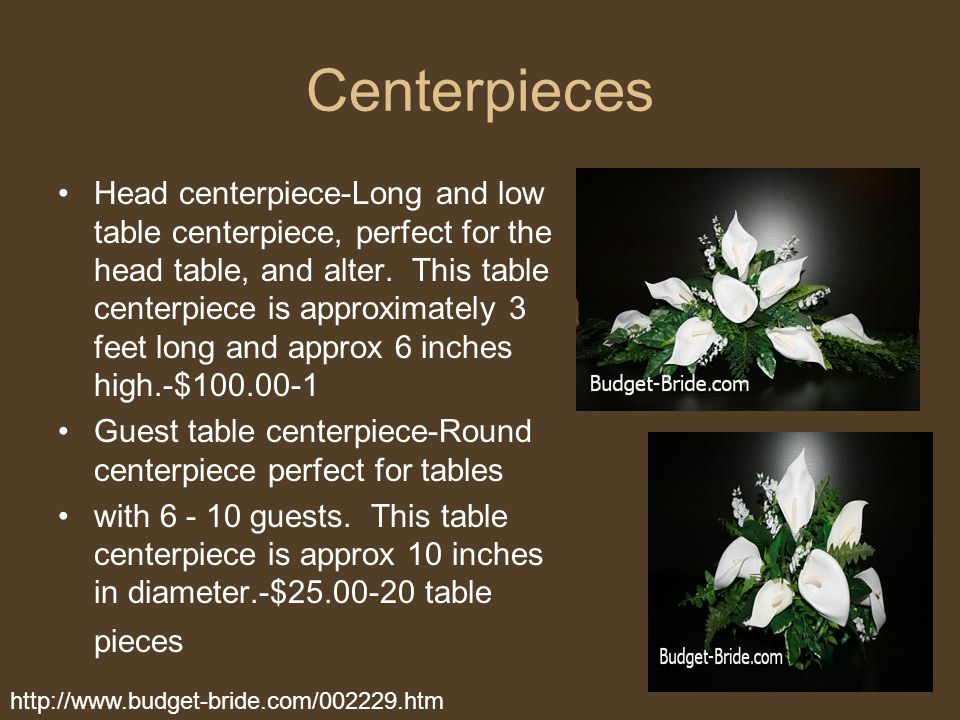 Centerpieces Head centerpiece-Long and low table centerpiece, perfect for the head table, and alter. This table centerpiece is approximately 3 feet lo