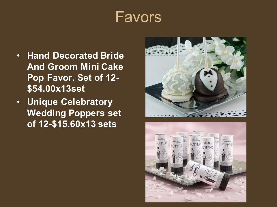 Favors Hand Decorated Bride And Groom Mini Cake Pop Favor. Set of 12- $54.00x13set Unique Celebratory Wedding Poppers set of 12-$15.60x13 sets