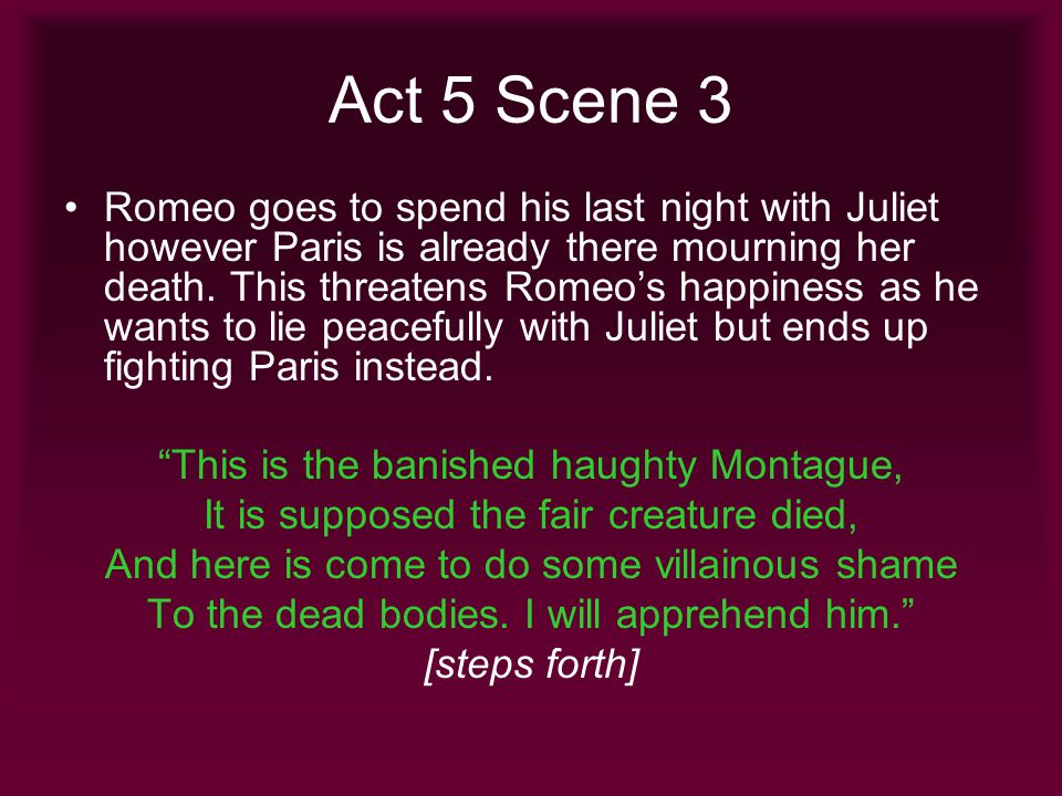 How does Shakespeare use Paris as a means of creating a sense of tension and irony?