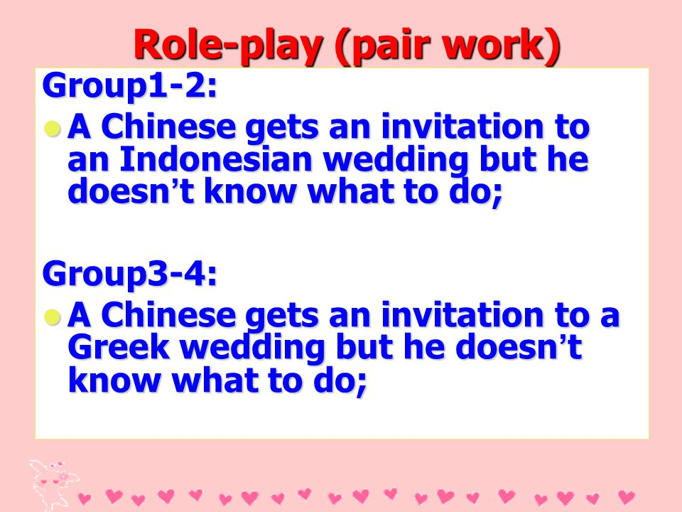Role-play (pair work) Group1-2: A Chinese gets an invitation to an Indonesian wedding but he doesn t know what to do; A Chinese gets an invitation to an Indonesian wedding but he doesn t know what to do;Group3-4: A Chinese gets an invitation to a Greek wedding but he doesn t know what to do; A Chinese gets an invitation to a Greek wedding but he doesn t know what to do;