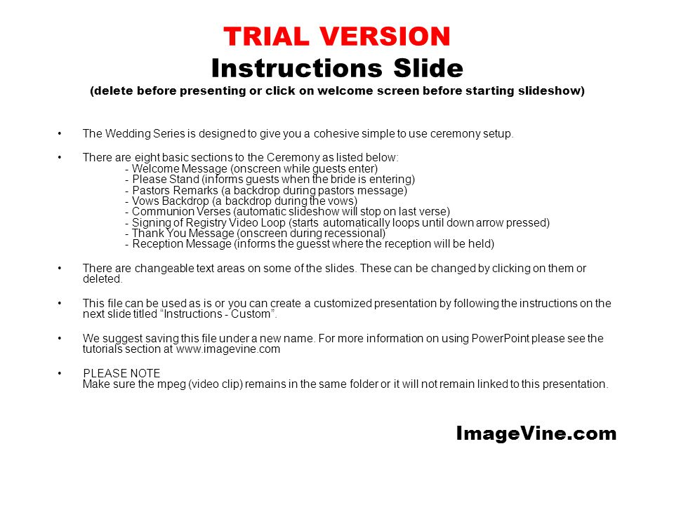 TRIAL VERSION Instructions Slide (delete before presenting or click on welcome screen before starting slideshow) The Wedding Series is designed to giv