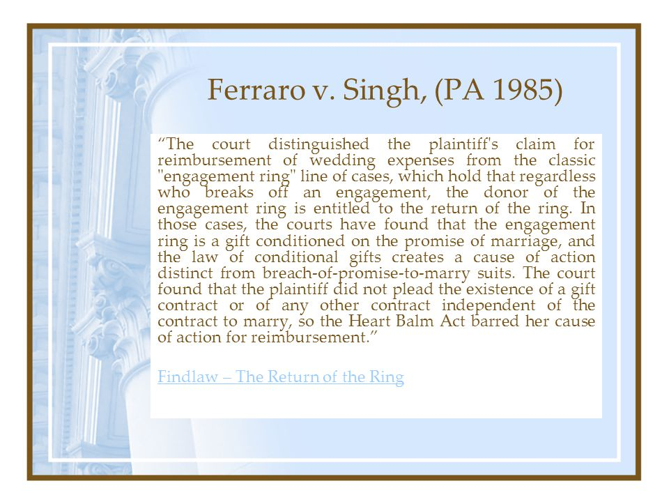 Ferraro v. Singh, (PA 1985) The court distinguished the plaintiff's claim for reimbursement of wedding expenses from the classic