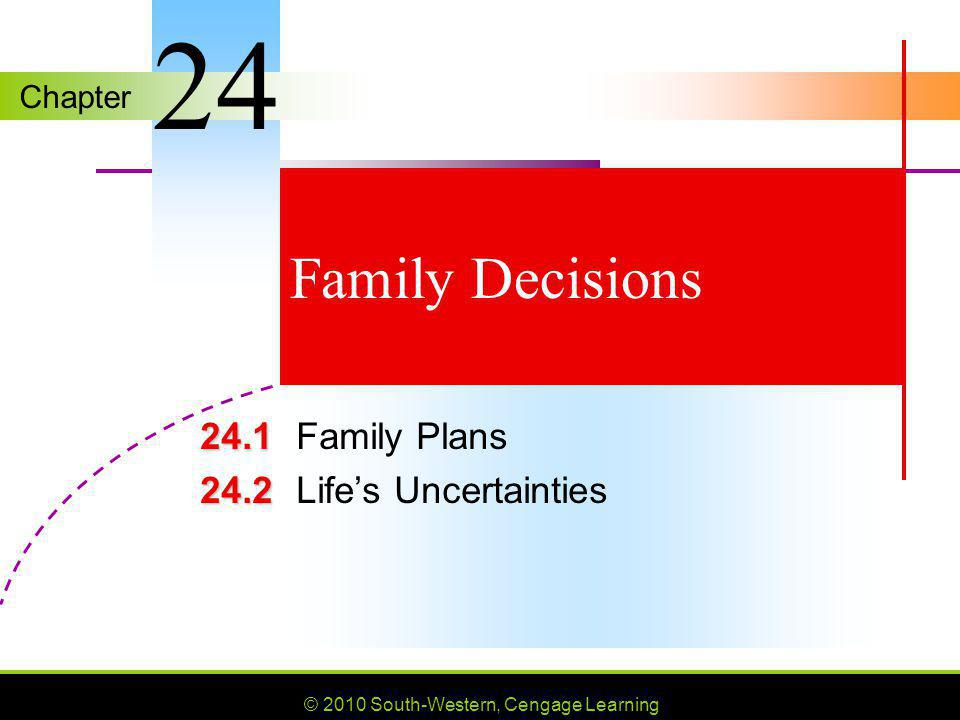Chapter © 2010 South-Western, Cengage Learning Family Decisions 24.1 24.1Family Plans 24.2 24.2Lifes Uncertainties 24