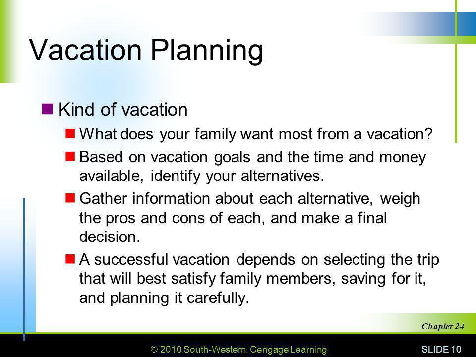 © 2010 South-Western, Cengage Learning SLIDE 10 Chapter 24 Vacation Planning Kind of vacation What does your family want most from a vacation.