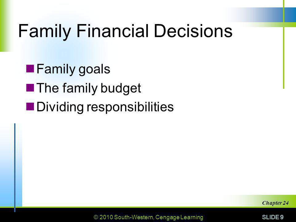 © 2010 South-Western, Cengage Learning SLIDE 9 Chapter 24 Family Financial Decisions Family goals The family budget Dividing responsibilities