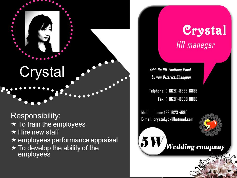 Crystal Responsibility: To train the employees Hire new staff employees performance appraisal To develop the ability of the employees